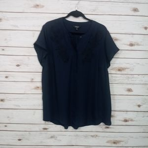 Simply Vera High Low Short Sleeve Blouse Size 1X